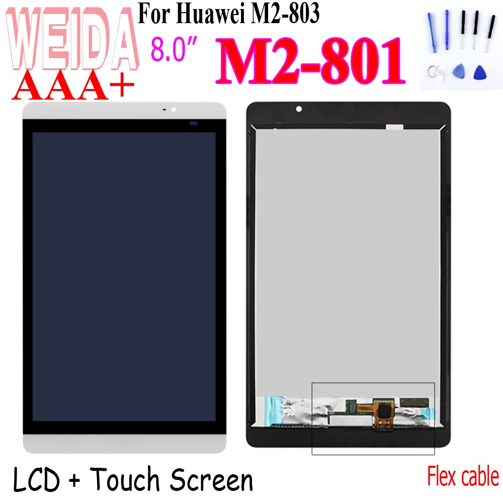WEIDA M2-801 lcd 8 For Huawei Mediapad M2 M2-802 M2-803 LCD Display Touch Screen Assembly  M2-801L M2-802L M2-803L Touch + Tool