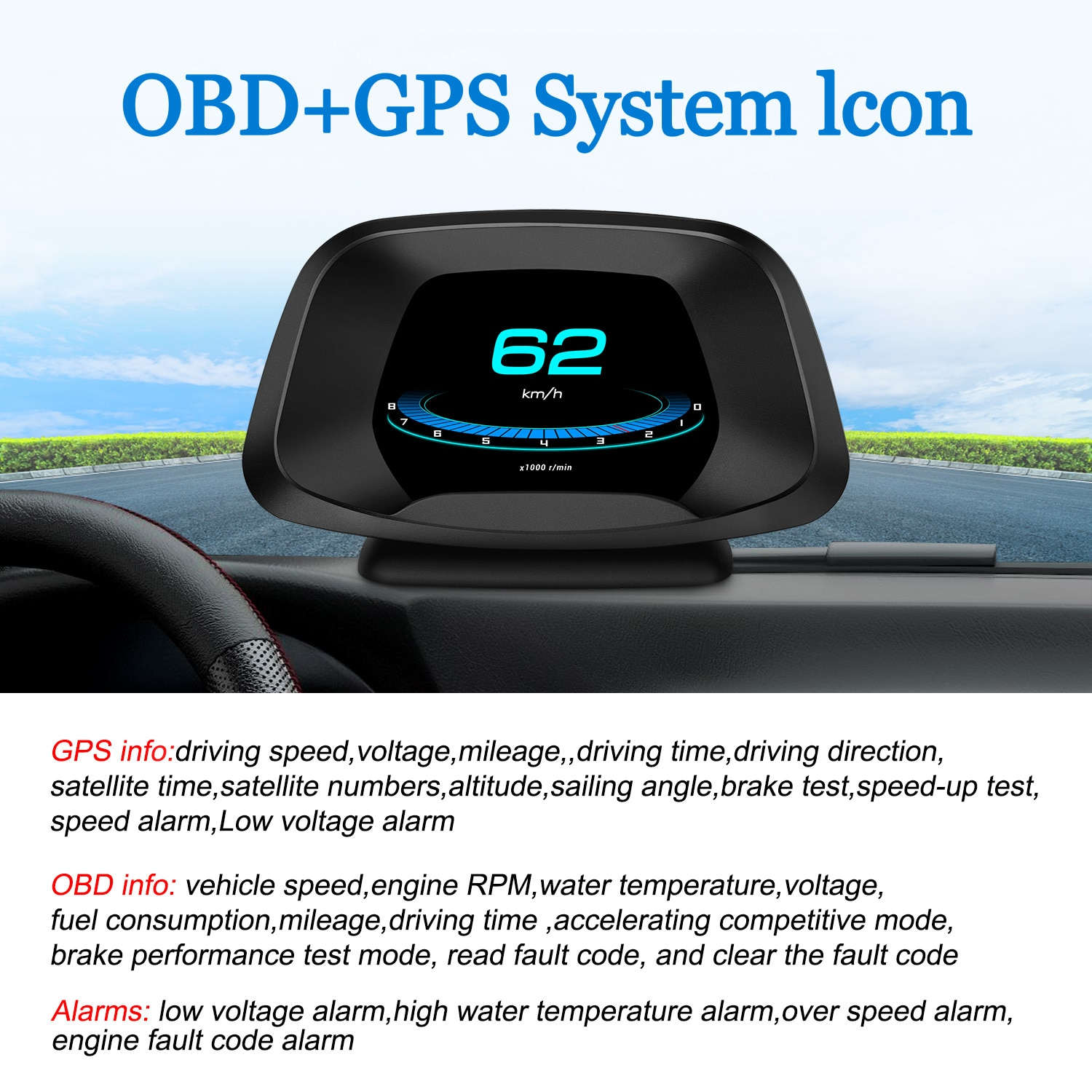 On-board Computer Auto HUD Head Up Display GPS OBD2 Scanner Speed Projector Security Alarm Gadgets I