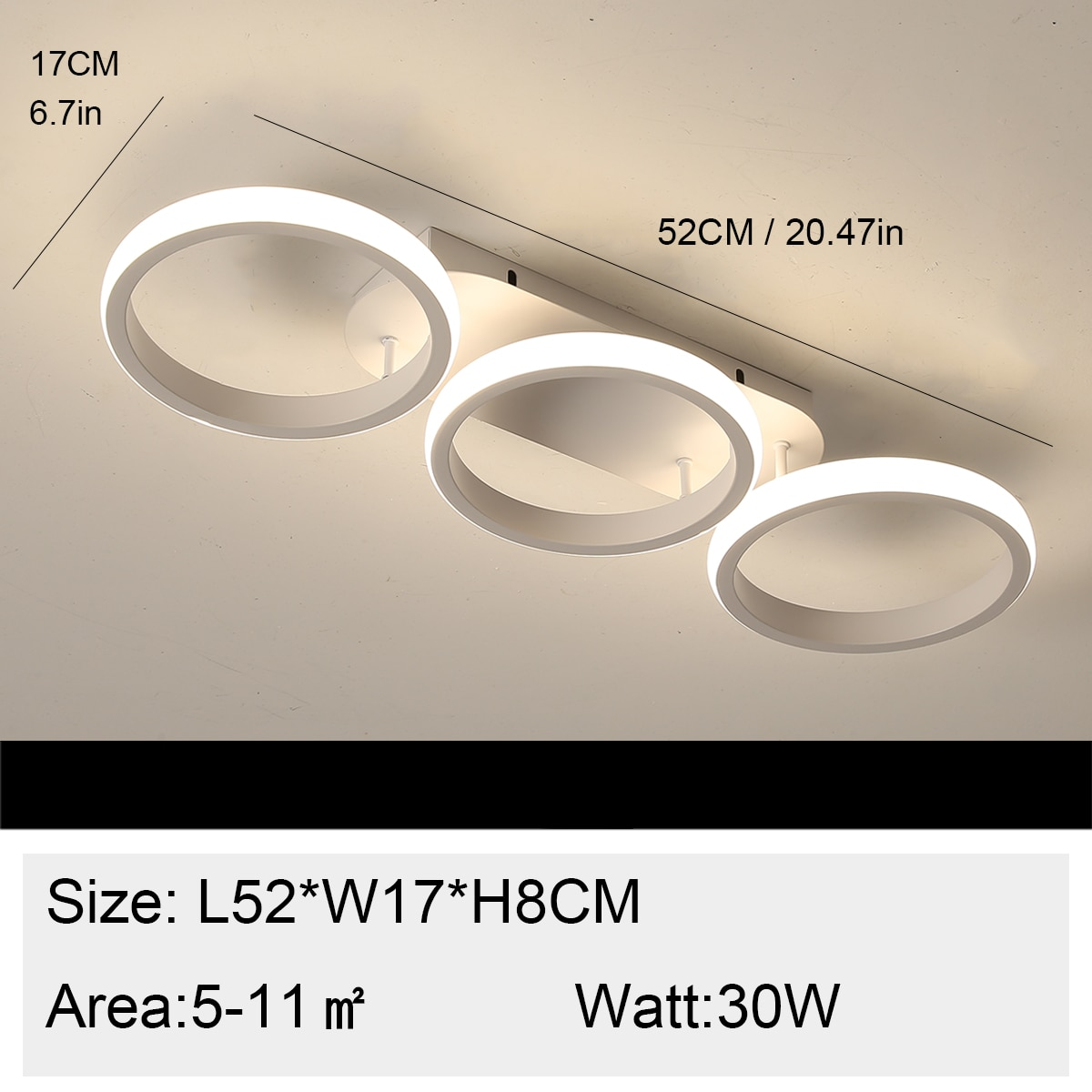 3 Circle Rings Ceiling Lights White Led Chandelier Indoor Lighting Fixtures For Bedroom Dining room Kitchen Aisle Hallway Lights
