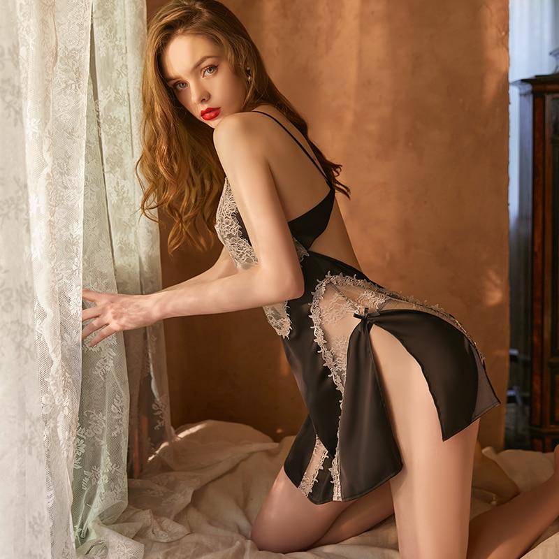 Фото - Сексуальная женская ночная сорочка X-BEAU, кружевная ночная сорочка, летняя кружевная ночная сорочка V-образная Пижама, шелковая ночная сорочк... сорочка женская iv30248