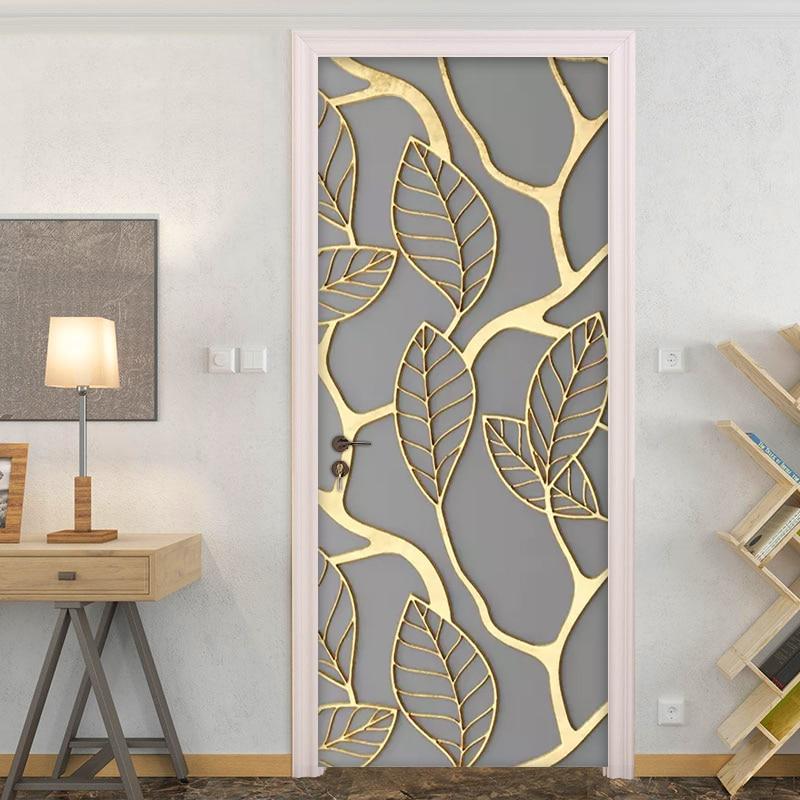 2Pcs/Set Golden Leaves 3D Door Sticker PVC Self-adhesive Waterproof Wallpaper Wall Decals Home Decor Living Room Bedroom Decor