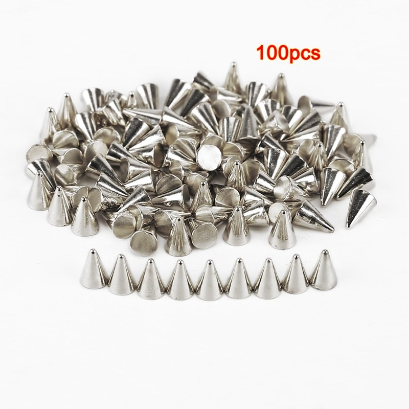 ¡Novedad de 100! Tachuelas pcsPic/remaches de plástico PUNK 6x4mm DIY plata