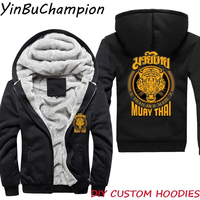 Muay Thai Tiger Thailand Tiger sudaderas con capucha para hombres prendas de vestir chándal sudadera abrigo grueso chaquetas de talla grande polar con capucha