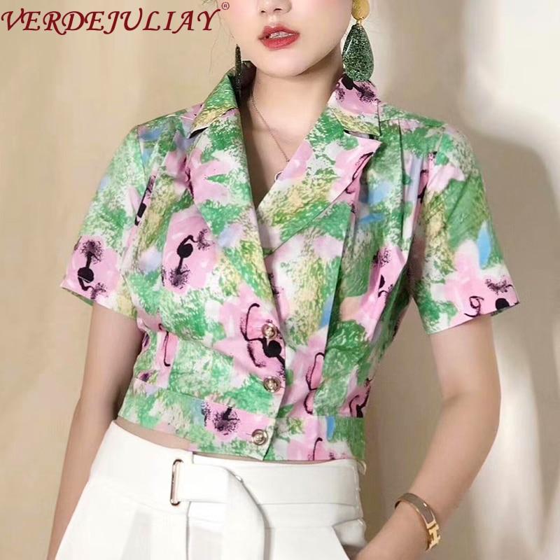 VERDEJULIAY Französisch Mode Hohe Qualität 100% Baumwolle Kurze Tops Frauen 2020 Frühling Runway Design Abstrakte Floral Print Jacke