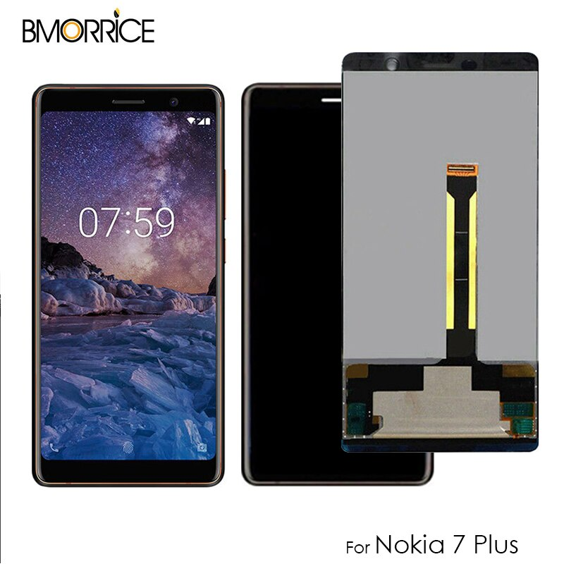 6,0 LCD Für Nokia 7 Plus LCD Display Touch Screen Glas Panel Digitizer Montage N7 Plus TA-1062 TA-1046 TA-1055 Schwarz