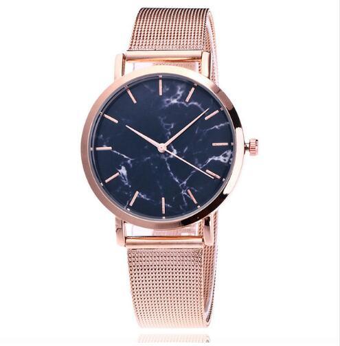 Dropshiping Fashion Rose Gold Mesh Band Creative Marble Wrist Watch Casual Women Watches Brand Quart
