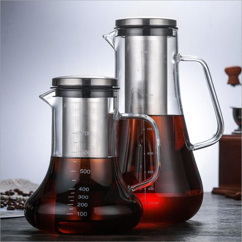 Fabricante al por mayor, cafetera de vidrio de borosilicato, cafetera para compartir café, tetera cafetera de vidrio de extracción en frío