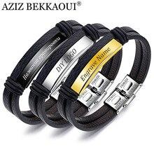 AZIZ BEKKAOUI, pulsera Vintage de cuero genuino para hombres, brazalete grabado con nombre de acero inoxidable, joyería masculina, regalo, Dropshipping