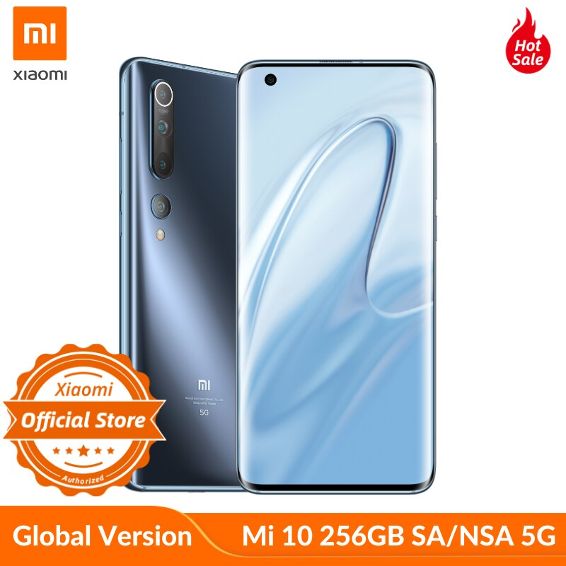 Versión Global Xiaomi Mi 10 Snapdragon 865 5G/SA/NSA 8GB 256GB Smartphone WiFi 6 LPDDR5 UFS 3,0 108MP Pro Cámara 8K