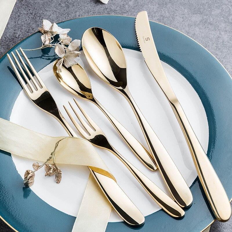 KuBac Hommi-طقم أدوات مائدة من الفضة الإسترليني عيار 18/10 مع مرآة من الفولاذ المقاوم للصدأ والذهب ، طقم أدوات مائدة لامع ، 30 قطعة