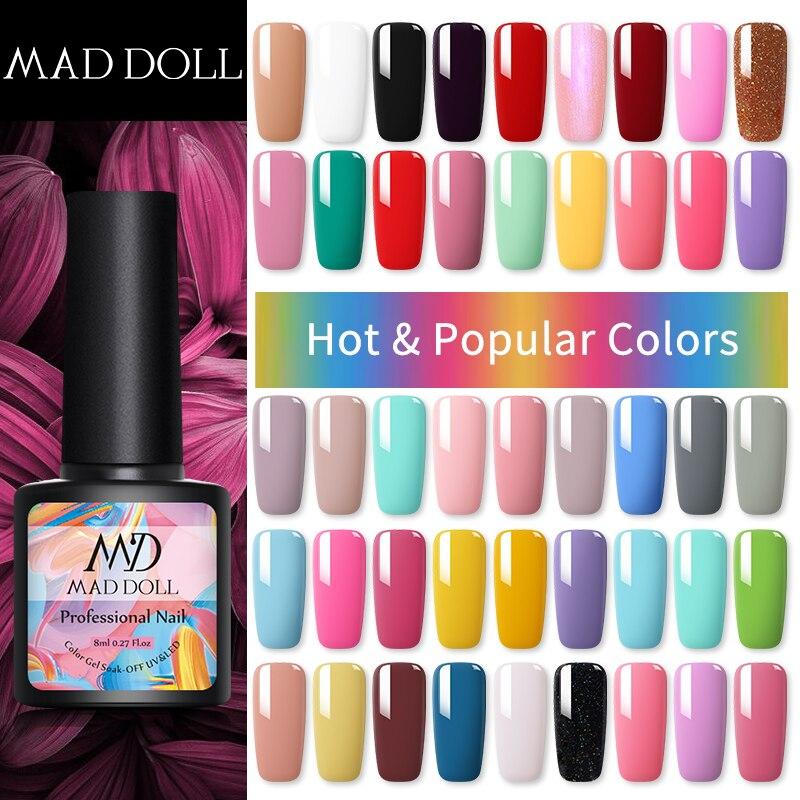 MAD DOLL 8ml 58 Colors Nail Gel Polish UV LED Varnish varnish For  Soak Off UV Paint One-shot Nail Art DIY Design
