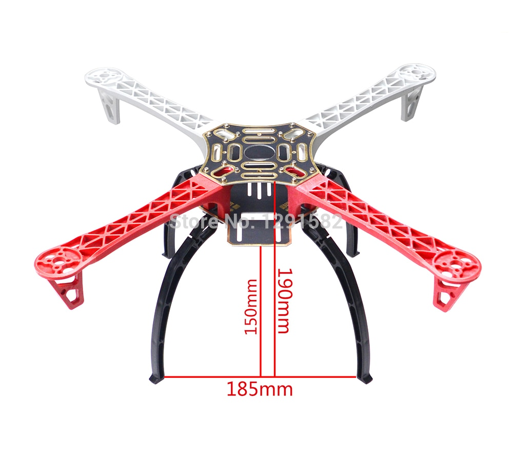 Caliente F450 450mm 4-eje multicóptero Quadcopter marco Multi-rotor Kit de fuselaje con tren de aterrizaje de plástico negro