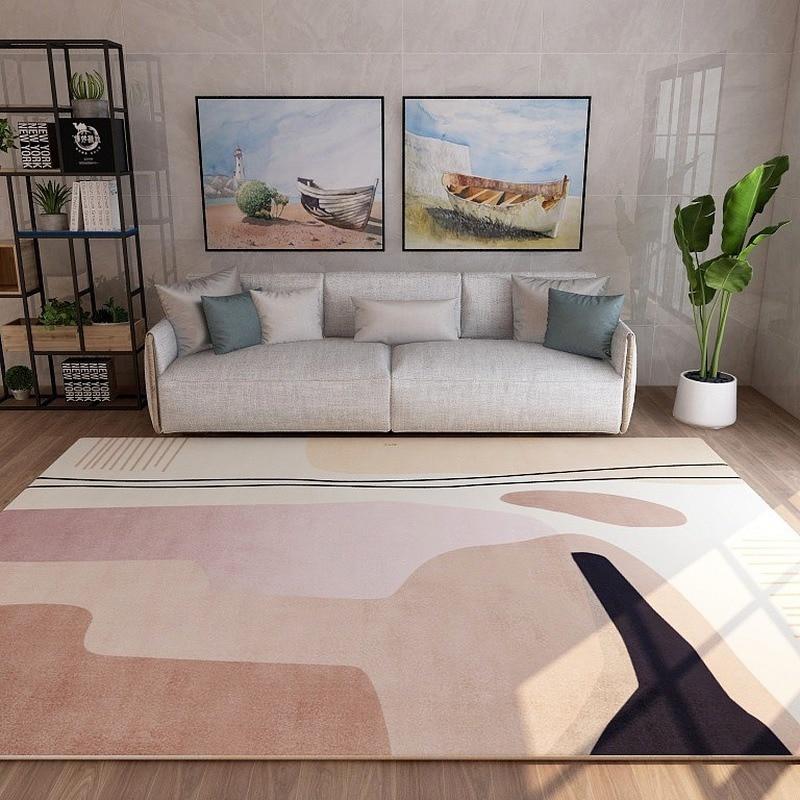 سجادة إسكندنافية فاخرة وخفيفة الوزن ، لغرفة المعيشة ، أريكة ، طاولة القهوة ، بطانية السرير ، المنزل