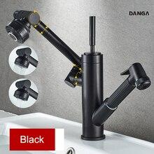 Robinet de lavabo 3-en-1 robinet dévier robinet deau extractible robinets de salle de bain noir robinet de vanité mélangeur chaud et froid robinets de mélange rotatifs