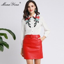 MoaaYina Fashion Designer Suit Spring Autumn Women Long sleeve Embroidery Shirt Tops+PU Short skirt Elegant Two-piece set