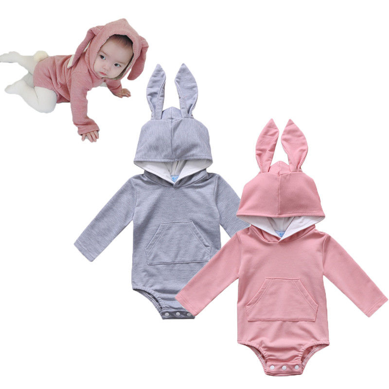 Pudcoco 2019 New Newborn Baby Girl Boy Hooded Rabbit Ear Romper Outfits Jumpsuit Clothes