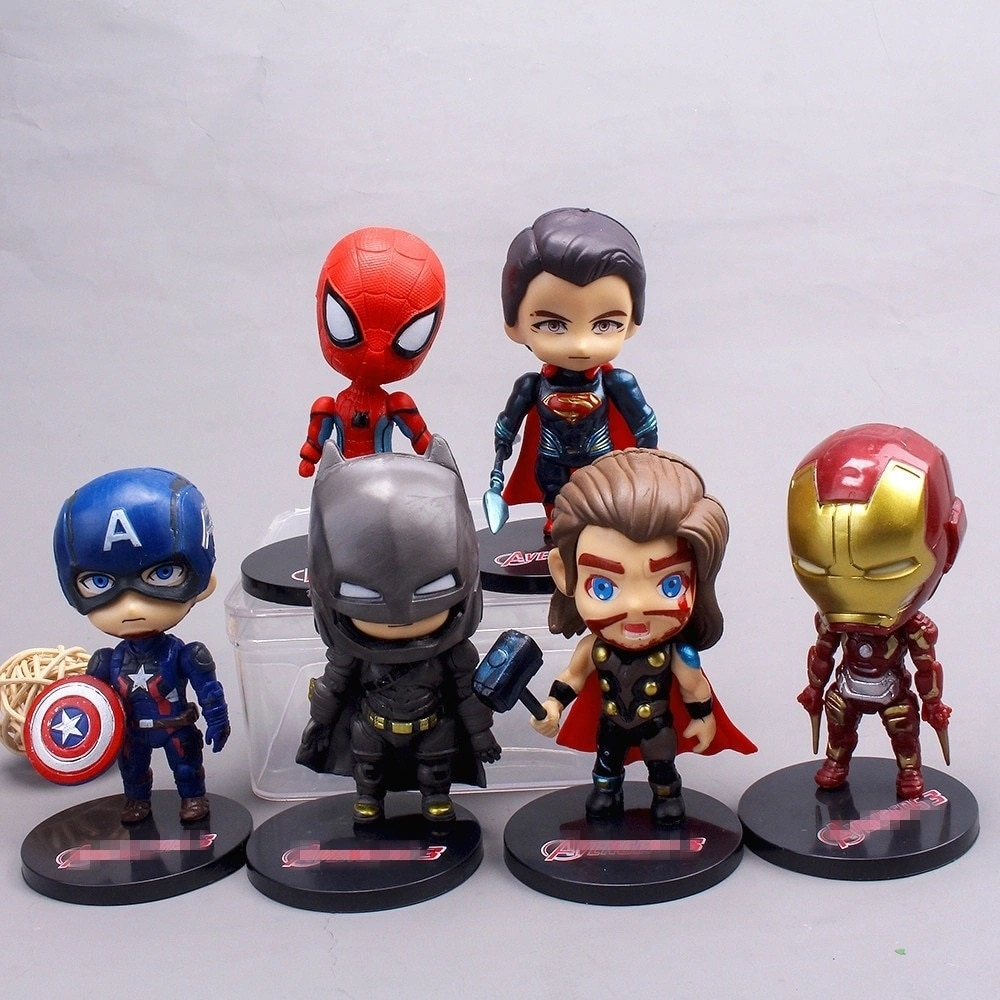 6pcs/set Anime action figures Infinity War 3D Movie Figure Ironman Captain American Figure Model Movie Toys PVC Model Ornaments
