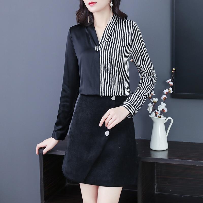 Na primavera a nova cor combinando cetim camisa feminina preto e branco listra design sentimento jaqueta