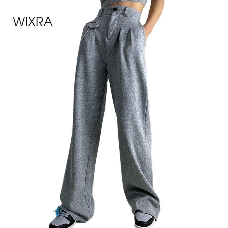 Wixra-بنطلون رمادي نسائي ، ربيع 2021 ، أنيق ، خصر عالي ، مرن ، لون سادة ، أرجل عريضة ، غير رسمي ، موضة جديدة