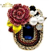 Italy Stylish Pink Crystal Rose Deco Dark Blue Rectangular Booch with Black Fabric Back Vintage Blue Stone Pin Georgian Jewelry
