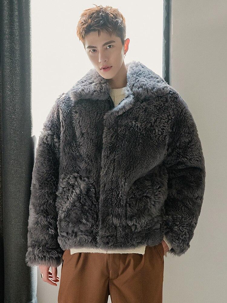 معطف شتوي أصلي للرجال من فرو الأغنام ، معطف قصير للرجال ، سترات دافئة من فرو الخروف 2020 19341 KJ3321