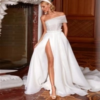 thinyfull shiny long one shoulder a line princess wedding dresses sequines side slit sleeveless bridal gowns bride dress robe