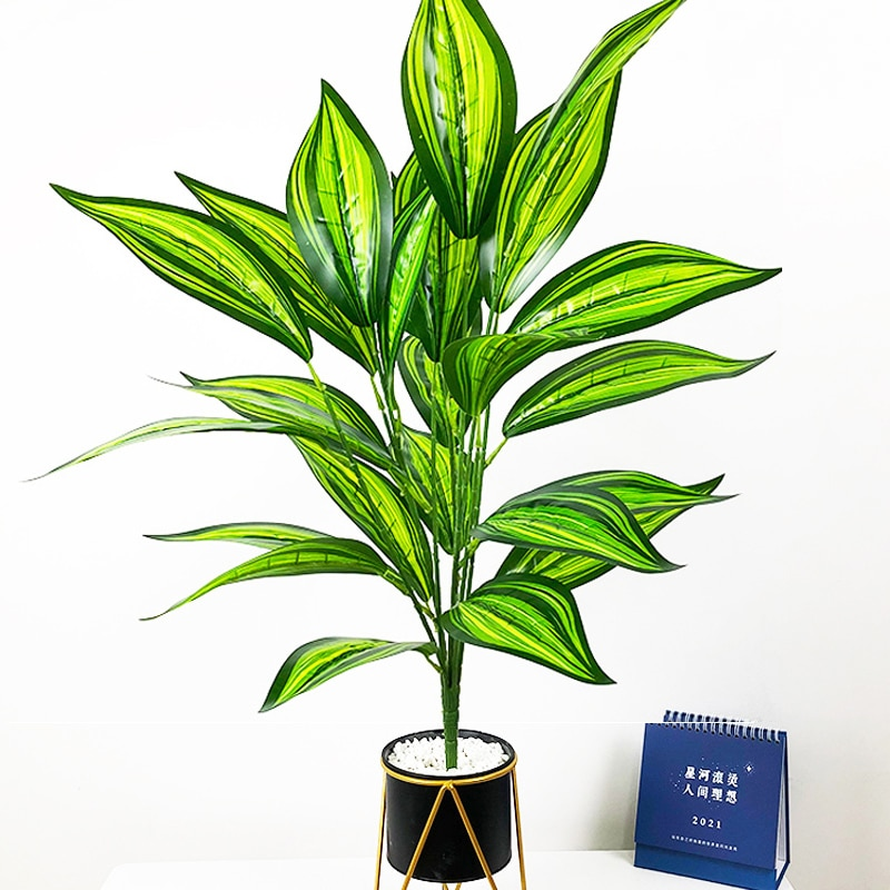 AliExpress - 75cm 26Leaves Large Artificial Palm Plants Tropical Monstera Tree Bouquet Real Touch Plastic Leaves Wall Foliage for Home Decor