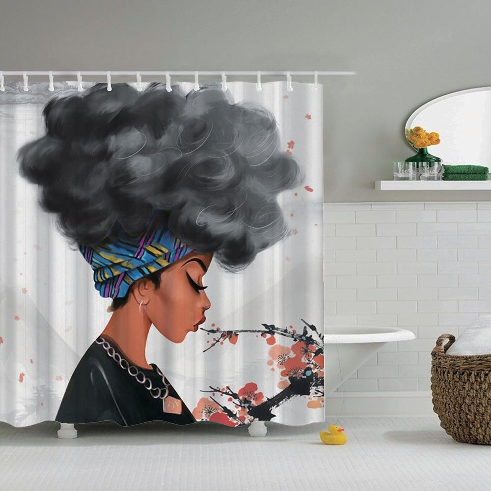 Dafield africano cortina de chuveiro conjunto preto menina com cabelo azul poliéster tecido banheiro afro cortina de chuveiro africano