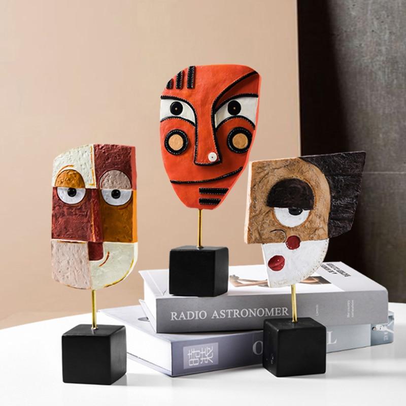 قناع قبلي أفريقي من الراتينج ، منحوتة على شكل وجه مجردة ، فن زخرفي للمنزل ، غرفة المعيشة ، زخرفة الطاولة ، المتجر ، تمثال وطني