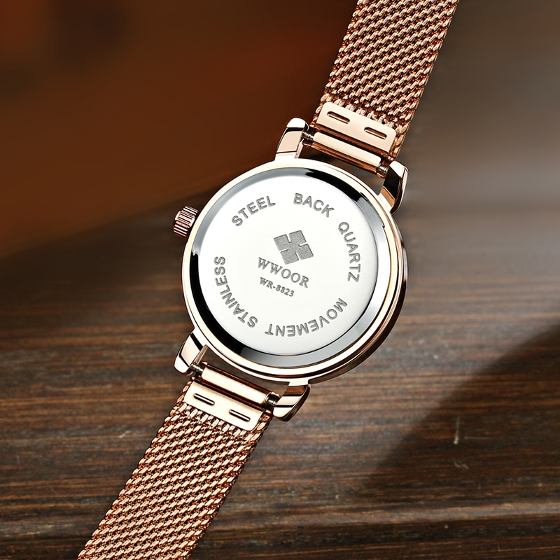 WWOOR Brand Luxury Fashion Rose Gold Women Watches Dress Casual Mesh Strap Quartz Watch Gifts For Women Clock montre femme 2020 enlarge