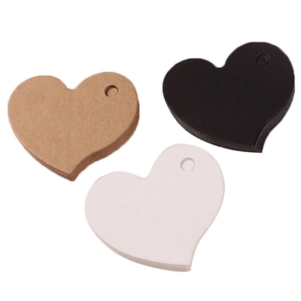 50 шт./лот 4,5*4 см в форме сердца крафт-бумага карты свадебный подарок бирка