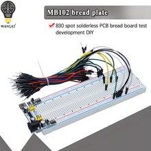 Placa de pruebas MB-102 MB102 400, placa de pan PCB sin soldadura de 830 puntos, prueba para desarrollar bricolaje para SYB-830 de laboratorio arduino