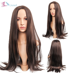 Uenel Ladies Light Brown Long Straight Hair Synthetic Wigs European and American High Temperature Fiber 28Inch Free Shipping