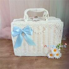 Lolita portable rotin boîte tissé panier thé fête sauvage sac à main Lolita fille prendre une jupe bleu