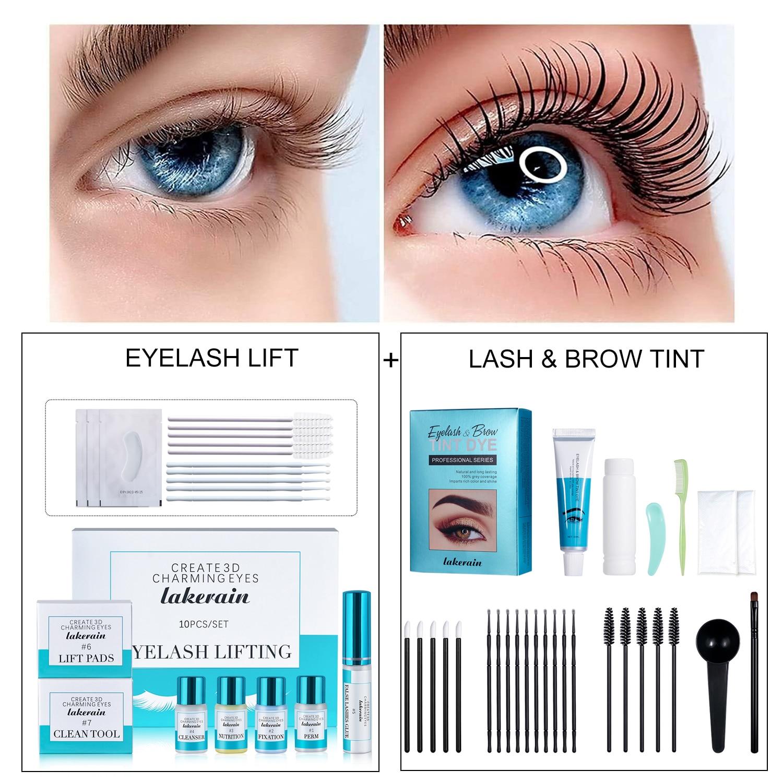Lash Lift and Tint Kit Black Eyelash Lifting Lash & Brow Dye Lift Set KERATIN Eyelash Enhancer Perming Curling Set Eyebrow Tint