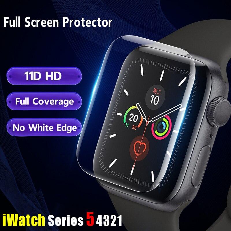 Protector de pantalla para Apple Watch 5 4 44mm 40mm 11D cobertura completa película transparente Apple watch Serie 3 2 iWatch 38mm 42mm (no cristal)