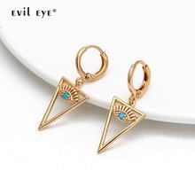 EVIL EYE Triangle Drop Earrings Gold Color Ear Ring Micro Pave Turkish Eye Dangle Earrings Fashion Jewelry Gifts for Women Girls