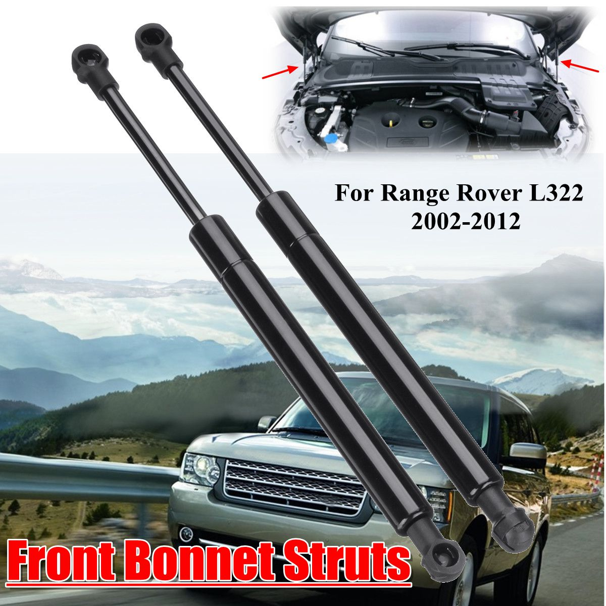2X Vorne Motor Abdeckung Bonnet Shock Lift Streben Unterstützung Gas Hydraulische BKK760010 Für Range Rover L322 2002 2003 2004 2005 -2012