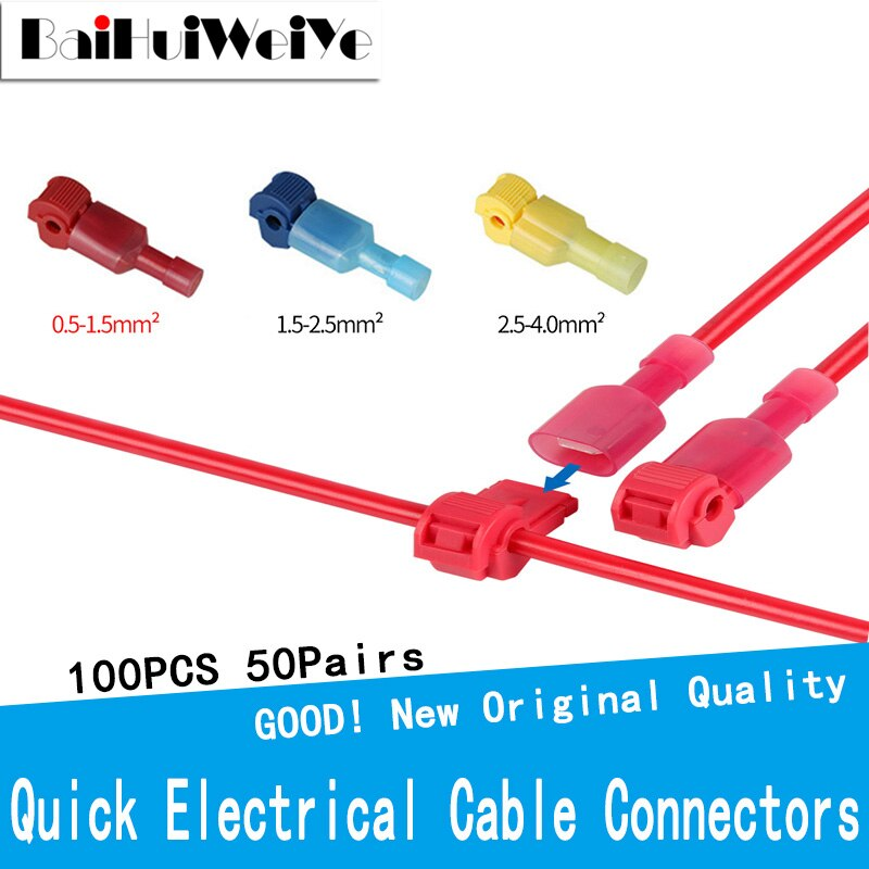 lot100pc self locking electrical cable connector quick splice lock wire terminal 2 pins electrical cable connectors quick splice 100PCS 50Set Quick Electrical Cable Connectors Snap Splice Lock Wire Terminal Crimp Wire Connector Waterproof Electric Connector