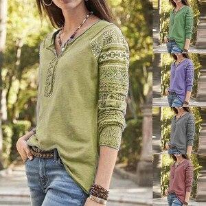 Women Fashion Print Long Sleeve Button Loose Sweatshirt Pullover Top Ladies loose casual fashion top платье 2020 новинка