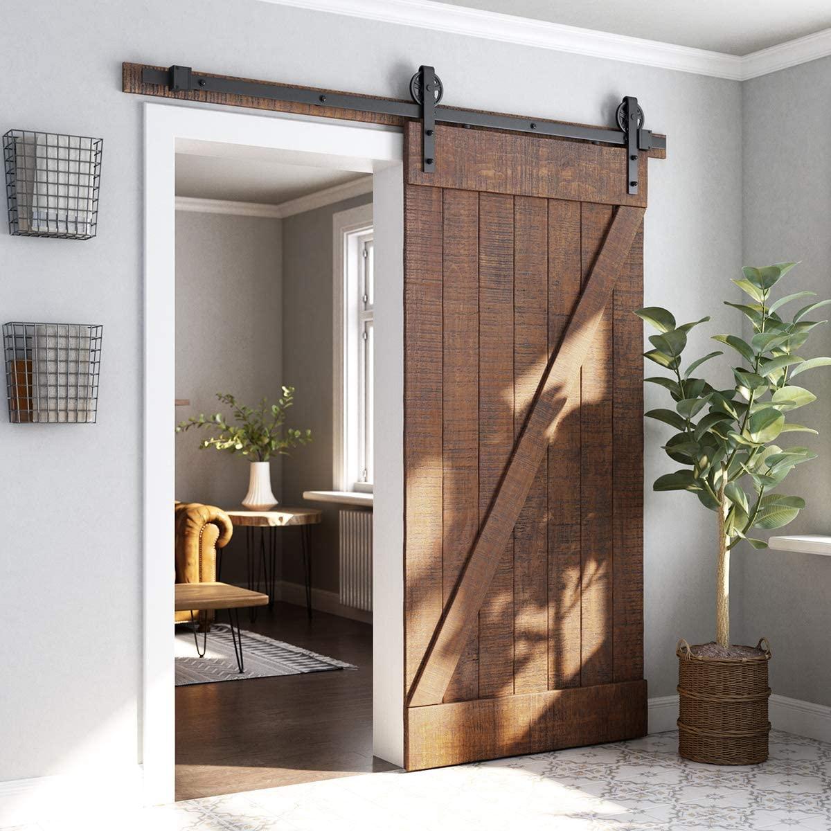 Оборудование для раздвижной двери сарая комплект Rail промышленный сарай деревянные двери межкомнатные двери шкафа Кухня дверь комплект тре...