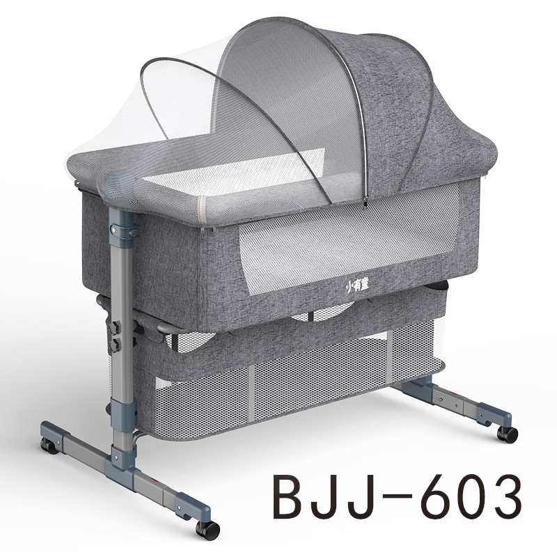 Baby bed With Net And Mattress Portable Removable Crib Cradle Foldable Adjusting Stitching Nest enlarge