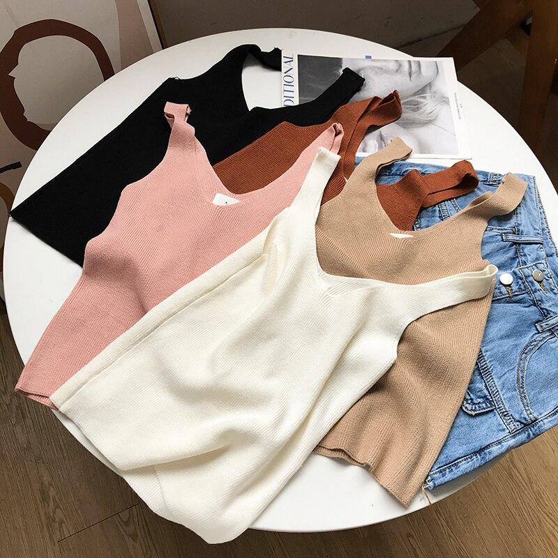 Korean Style Solid Color Sleeveless V-neck Loose Slimming Vest Temperament College Female Fashion Ca