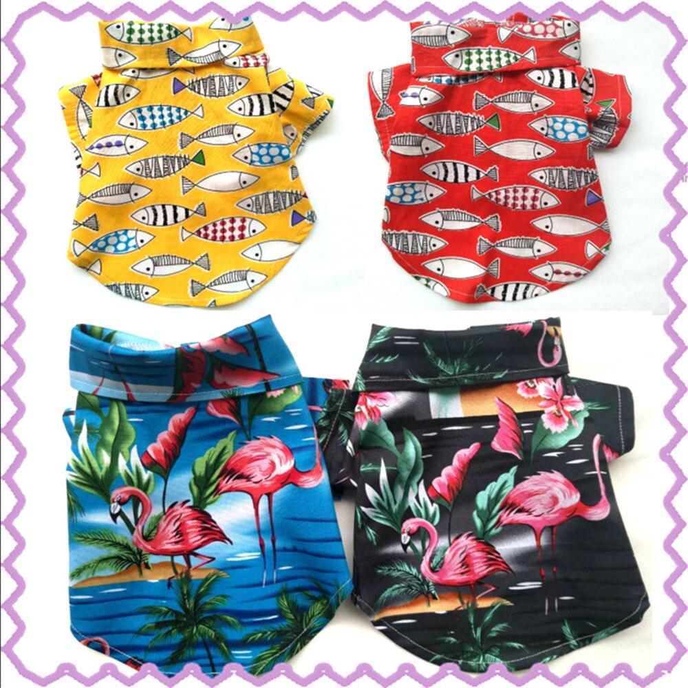 Super hermosa prendas de verano para perro pescado diseño de flamenco japonés ropa de perro para perros pequeños francés ropa para Bulldog camisa