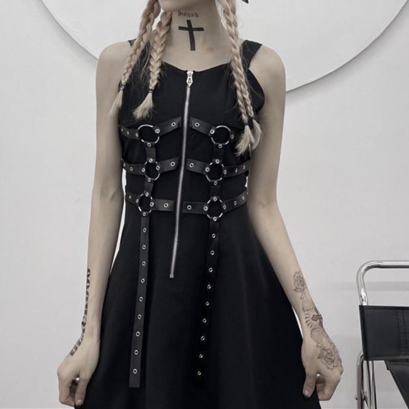 HOUZHOU Goth Dress Sexy Black Dark Gothic Slip Mini Dress Harajuku Punk Zipper Sundresses Women Summer Vintage Sundress Fashion