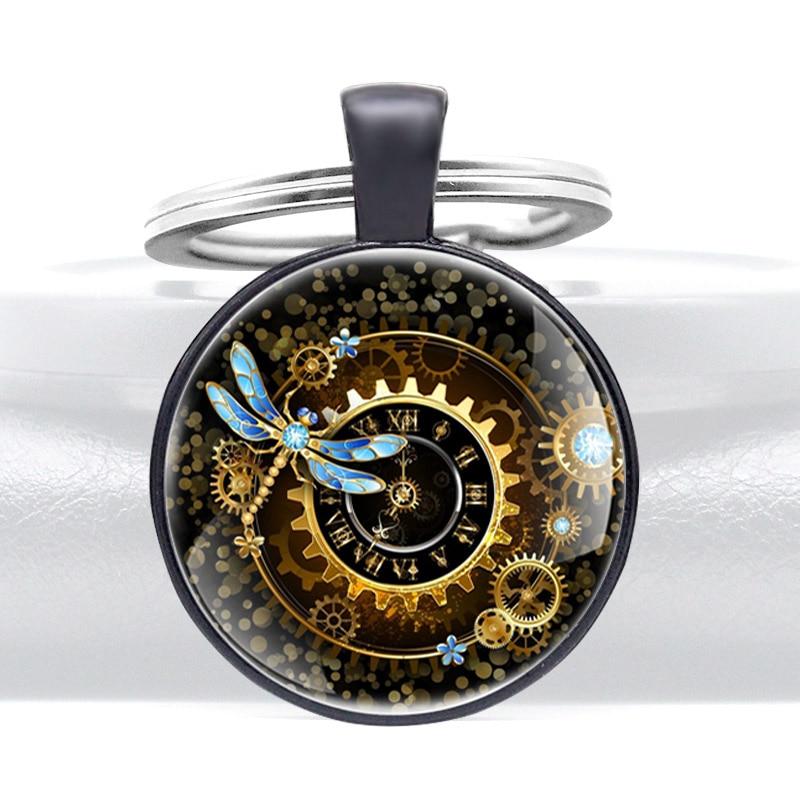 New Arrivals Dragonfly Steampunk Clock Design Key Chain