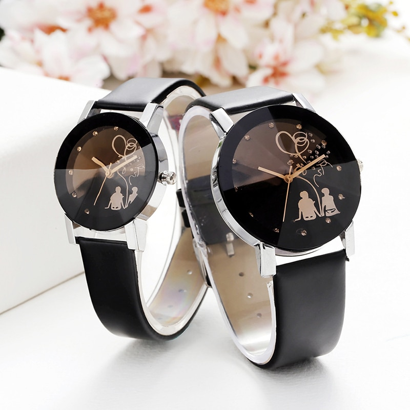 Men and Women Student Couple Stylish Spire Glass Belt Quartz Watch Wrist Watch Lovers Watches Women