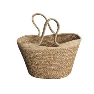Handmade Crochet Straw Bag Women Beach Bag Shoulder Messenger Holiday Straw Bag