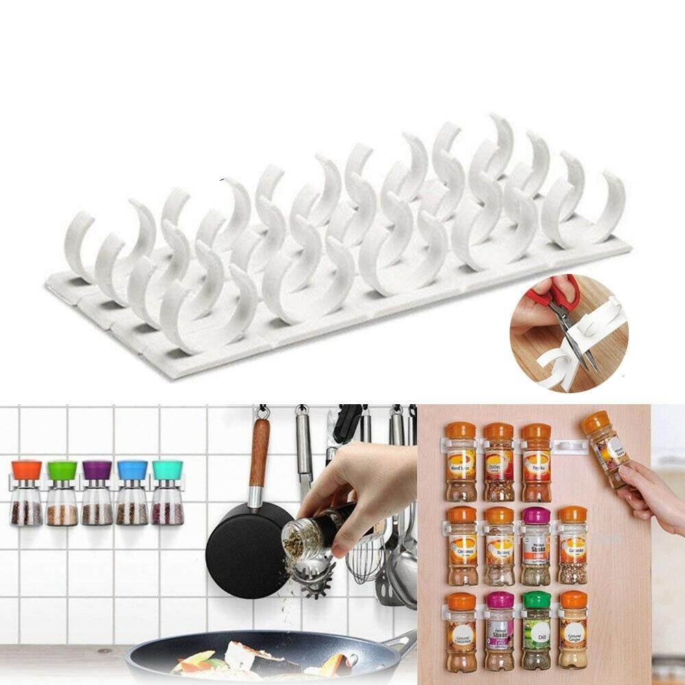 4 capa estante de almacenaje para cocina de montaje en pared ingrediente botella de especias de plástico estante de Clip de puerta de gabinete de ganchos frascos de especias de herramientas