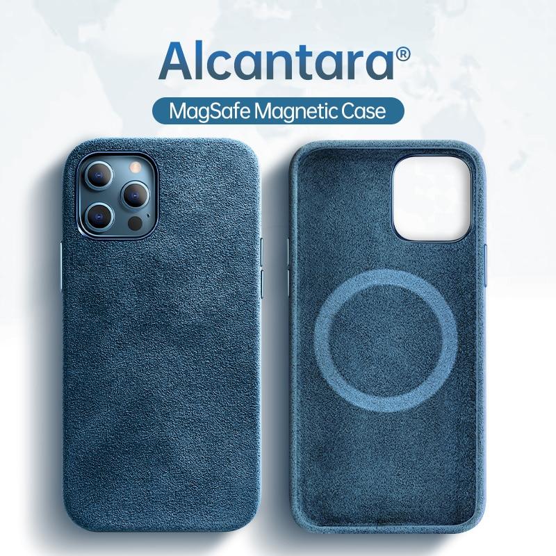 SanCore-جراب هاتف خلوي من الجلد ، جراب واقٍ مغناطيسي مع شاحن لاسلكي لهاتف iPhone 12pro 12ProMax 12Mini